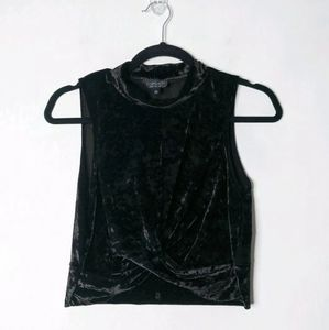 Topshop Crushed Velvet Twisted Front Crop Top